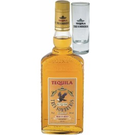"Текила ""Tres Sombreros"" Tequila Gold, with glass, 0.7 л"